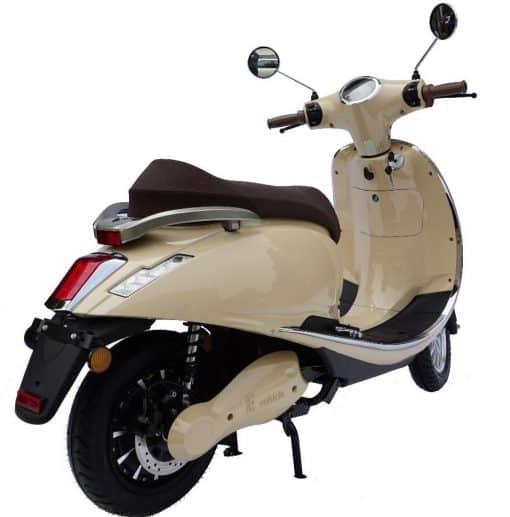 Back Of Cream Coloured Moped