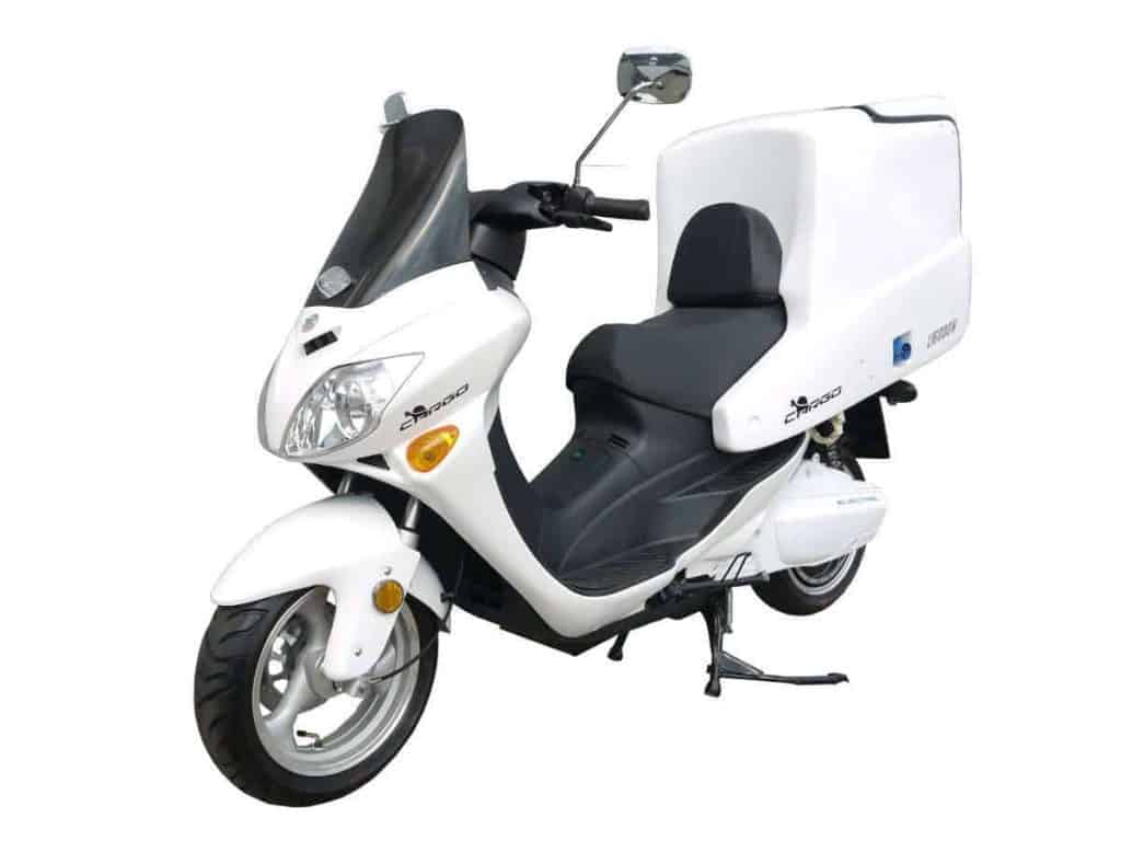 Side View Of White Electric Motorbike