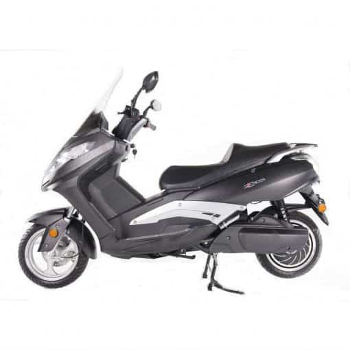 Side View Of Black Electric Motorbike
