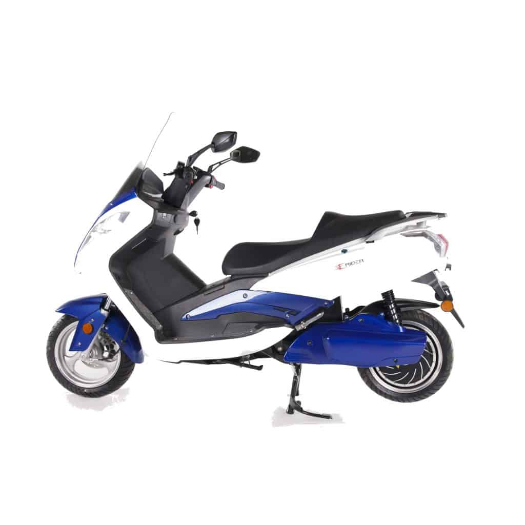Side View Of White And Blue Electric Motorbike