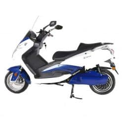 Side View Of Blue And White Electric Motorbike