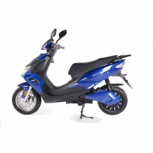 Side View Of Black And Blue Electric Motorbike