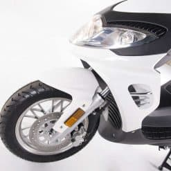 Front Of White Electric Motorbike