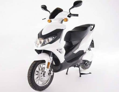 White Electric Motorbike On Stand