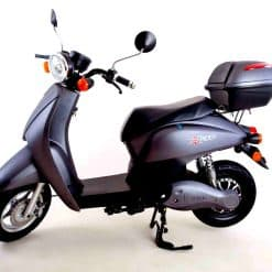Side View Of Black Electric Moped
