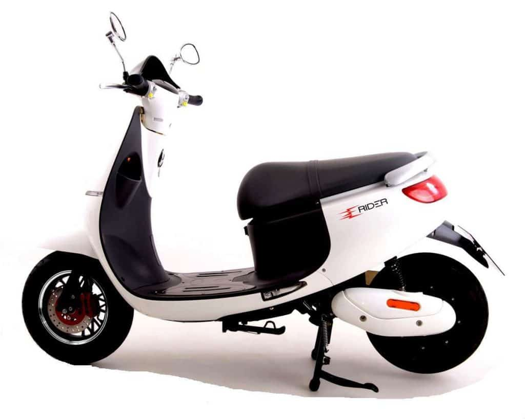 Side View Of White Electric Moped