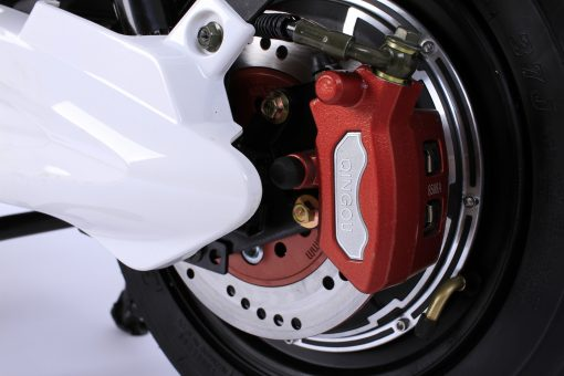 Red Electric Moped Breaks