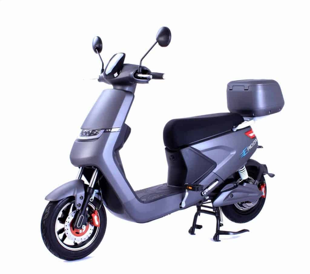Grey Electric Moped On Stand