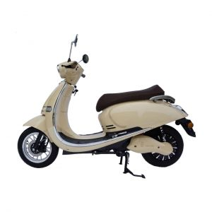 Side View Of Cream Coloured Electric Moped