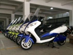 Variety Of Electric Mopeds In Storage