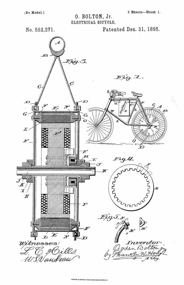 OGDEN BOLTON JR - 1895 HUB MOTOR EBIKE